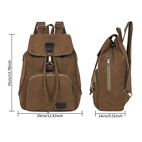 EGOGO Damen Canvas Rucksack Casual Schultaschen Daypack Taschen Freizeitrucksack Schulrucksack E530-1 (Brown) Brown PcXT4ur4