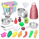24PCS Play Kitchen Accessories for Kids Girls Kitchen Playset Including Kitchen Utensils Such As Soup Pots, Colanders, Pot Covers, Tongs, Seasoning Bottles, Vegetables, etc.