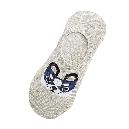 VJGOAL Mujeres Moda casual Wangcai perro de dibujos animados Cómodo Algodón Calcetín de boca baja calcetines invisibles(Un tamaño, Azul): Amazon.es: Ropa y ...