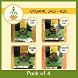 Shastha Organic Dal (Combo Pack of 4) Chana, Toor, Moong & Masoor Dals (Each dal 1 Pkt) USDA Certified Organic