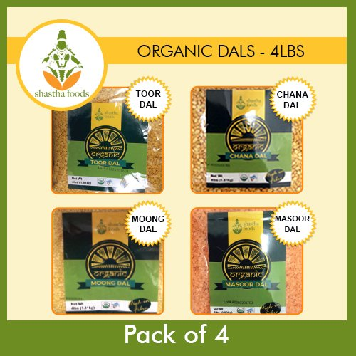 Shastha Organic Dal (Combo Pack of 4) Chana, Toor, Moong & Masoor Dals (Each dal 1 Pkt) USDA Certified Organic by Shastha Foods