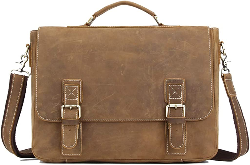 CHAO.P.J/crazy horse leather duffel bag/Men's Real Leather Shoulder Messenger Briefcase Laptop Bag Tote Oversized