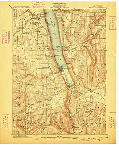 (YellowMaps Watkins NY topo map, 1:62500 Scale, 15 X 15 Minute, Historical, 1901, Updated 1909, 20.1 x 16.6 in - Polypropylene)