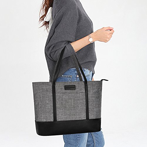 Laptop Bag,Multi Pockets Large Laptop Tote Bag,15.6 Inch Laptop Business Tote Bag for Women[gray] by Sunny Snowy (Image #6)
