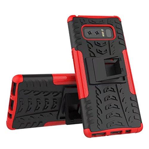 YHUISEN Galaxy Note 8 Case, Hyun Patrón de doble capa de armadura híbrida Kickstand 2 en 1 caso de la cubierta de choque para Samsung Galaxy Nota 8 ( Color : Red ) Red