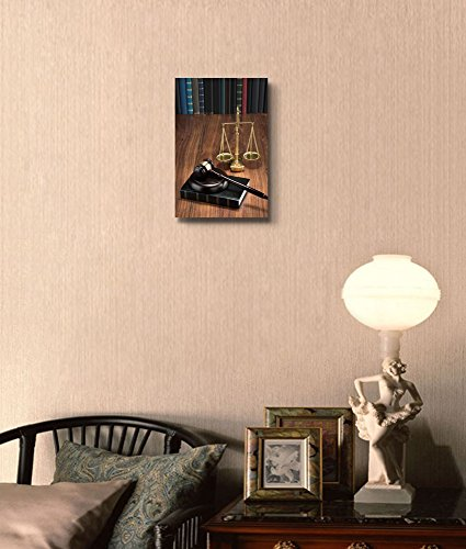 Wooden Gavel on Book with Golden Scale on Table Justice Concept Wall Decor