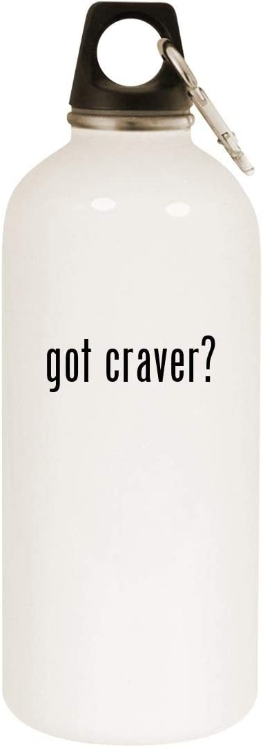 got craver? - 20oz Stainless Steel White Water Bottle with Carabiner, White