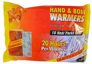 Heat Factory Hand and Body Heat Warmers, 10 Pack, Large
