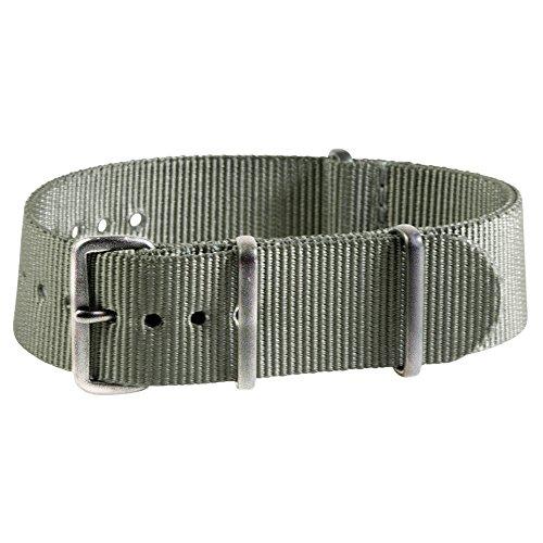 Extra Long - 22mm Premium Nato Ss Nylon Slate Green Watch Strap Band by Clockwork Synergy, LLC