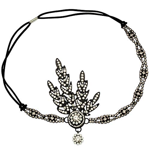 BABEYOND Art Deco 1920's Flapper Great Gatsby Inspired Leaf Medallion Pearl Headpiece Headband Black -