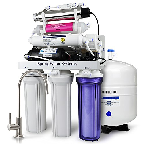 Filtering System (iSpring RCC1UP-AK 7-Stage Maximum Performance 100 GPD Under-Sink Reverse Osmosis Drinking Water Filtration System with Booster Pump, Alkaline pH+ Remineralization Filter and UV Sterilizer)
