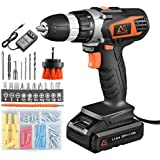 MAIBERG Cordless Drill Driver Set, 20V Battery Electric Power Drill with 3/8 inches Keyless Chuck, 2 Variable Speed, 20pcs Accessories include Drywall Anchor Screws, Brush and Drill Bits