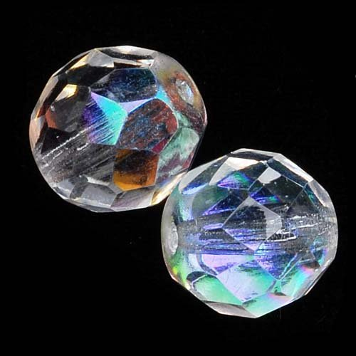 Czech Fire Polish Glass Beads 10mm Round Crystal AB (12) ()