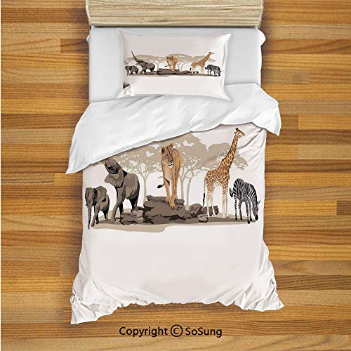 Safari Kids Duvet Cover Set Twin Size, Illustration of Wild Savannahs African Animals Exotic Giraffe Lion Elephant Zebra 2 Piece Bedding Set with 1 Pillow Sham,Multicolor
