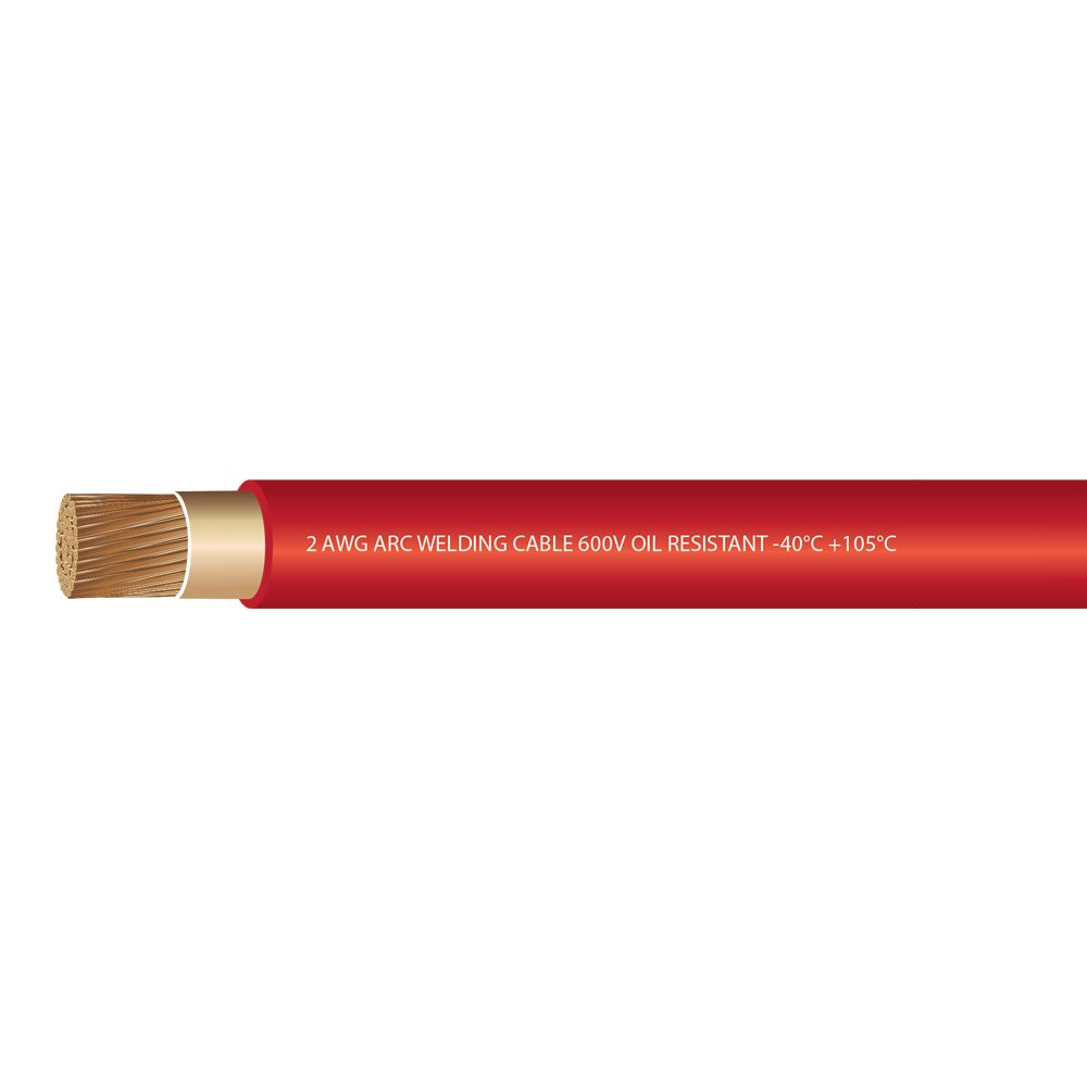 EWCS 2 Gauge Premium Extra Flexible Welding Cable 600 VOLT - Red - 20 Feet - Made in the USA by EWCS