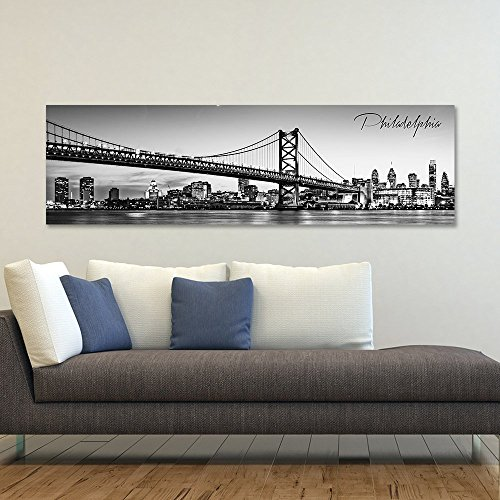 wallsthatspeak B&W Panoramic Philadelphia 14x48 Wrapped Canvas Framed & Ready to Hang