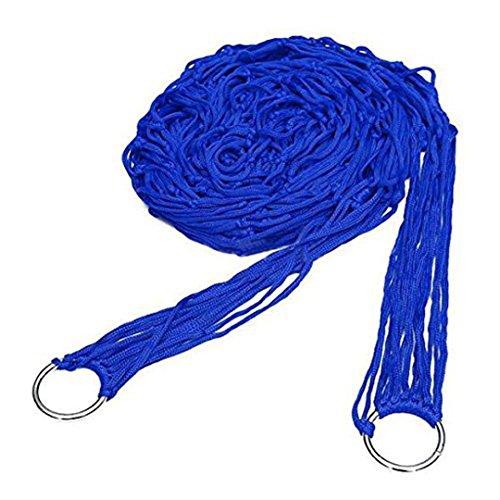 Naimo Single Mesh Nylon Rope Hammock Camping Hammock for Camping Hiking Outdoor Activity (Blue)