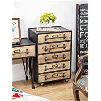 WGX Industrial Rustic Wood and Metal 5 Drawer Side Table Drawer Chest Nightstands Drawers cabinet