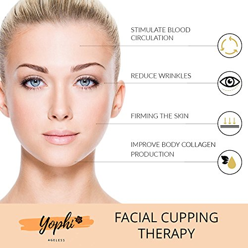 Yophi Premium Silicone Facial Cupping Therapy Set - Anti-Aging Eye, Face, Neck & Body - Forget About Wrinkles, Fine Lines & Cellulite - Silk Bag, Jade Stone, Brushes, Gift Box & E-book Included! by Yophi (Image #5)