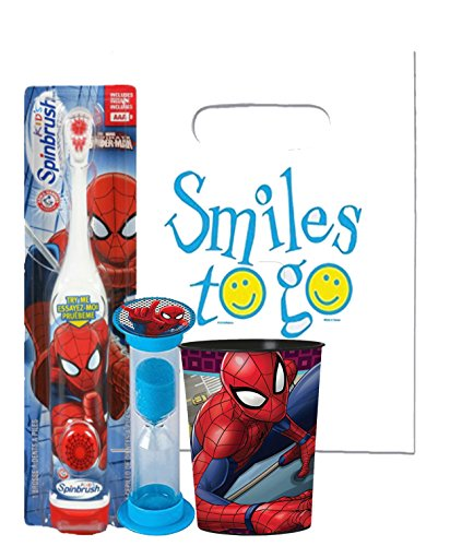 Marvel Spider Man 3pc Bright Smile Oral Hygiene Bundle! Turbo Spin Toothbrush, Brushing Timer & Mouthwash Rinse Cup! Plus Dental Gift Bag & Tooth Saver Necklace!
