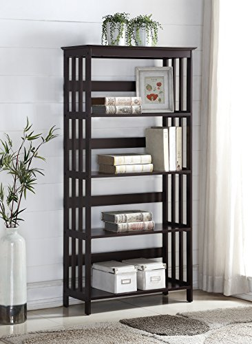 Roundhill Furniture Wooden 4 Shelves Bookcase, Espresso Finish by Roundhill Furniture