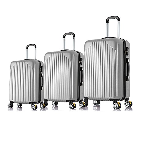 Magshion Unisex-Adult Carry On Luggage Travel Bag, Spinner Suitcase, Silver, 3 Piece by Magshion