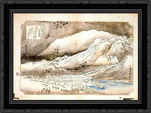 Evening Hiroshige Snow (Evening Snow on Mount Hira 24x18 Black Ornate Wood Framed Canvas Art by Hiroshige)