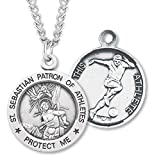 Boy's Sterling Silver Round Saint Sebastian Soccer Necklace with Endless 24'' Chain