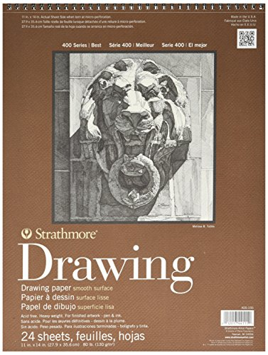 Strathmore 400 Series Smooth Surface Drawing Pads, 11 x 14 Inches, 24 Sheets per Pad (ST400-105)