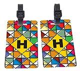 Letter H Monogram Vibrant Colors Stained Glass Design Design Plastic Flexi Luggage Identifier Tags + Strap Closure