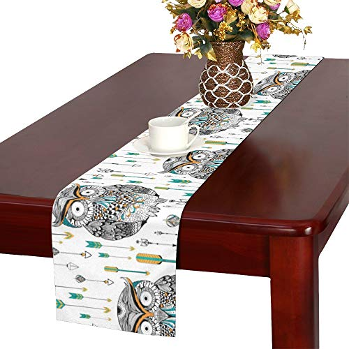 MOVTBA Tribal Boho Style Owl in Vector Seamless Pattern Table Runner, Kitchen Dining Table Runner 16 X 72 Inch for Dinner Parties, Events, Decor (Table Dining Decor Pinterest)