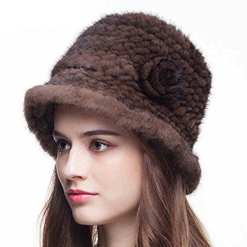 Zegeon Women's Mink Fur Bucket Hat Casual Winter/Autumn Knitted (Children's Russian Cossack Costume)