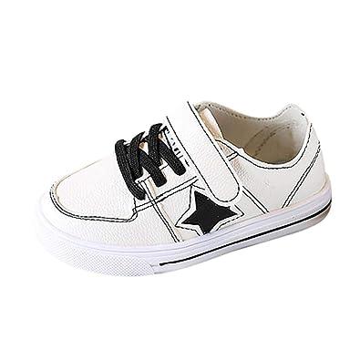 5b5d04d26430e1 GongzhuMM Blanc Baskets Mixte Enfant Fille Garcon Mode Chaussures Bébé en  Cuir Pentagramme Sneakers Lacets Velcro