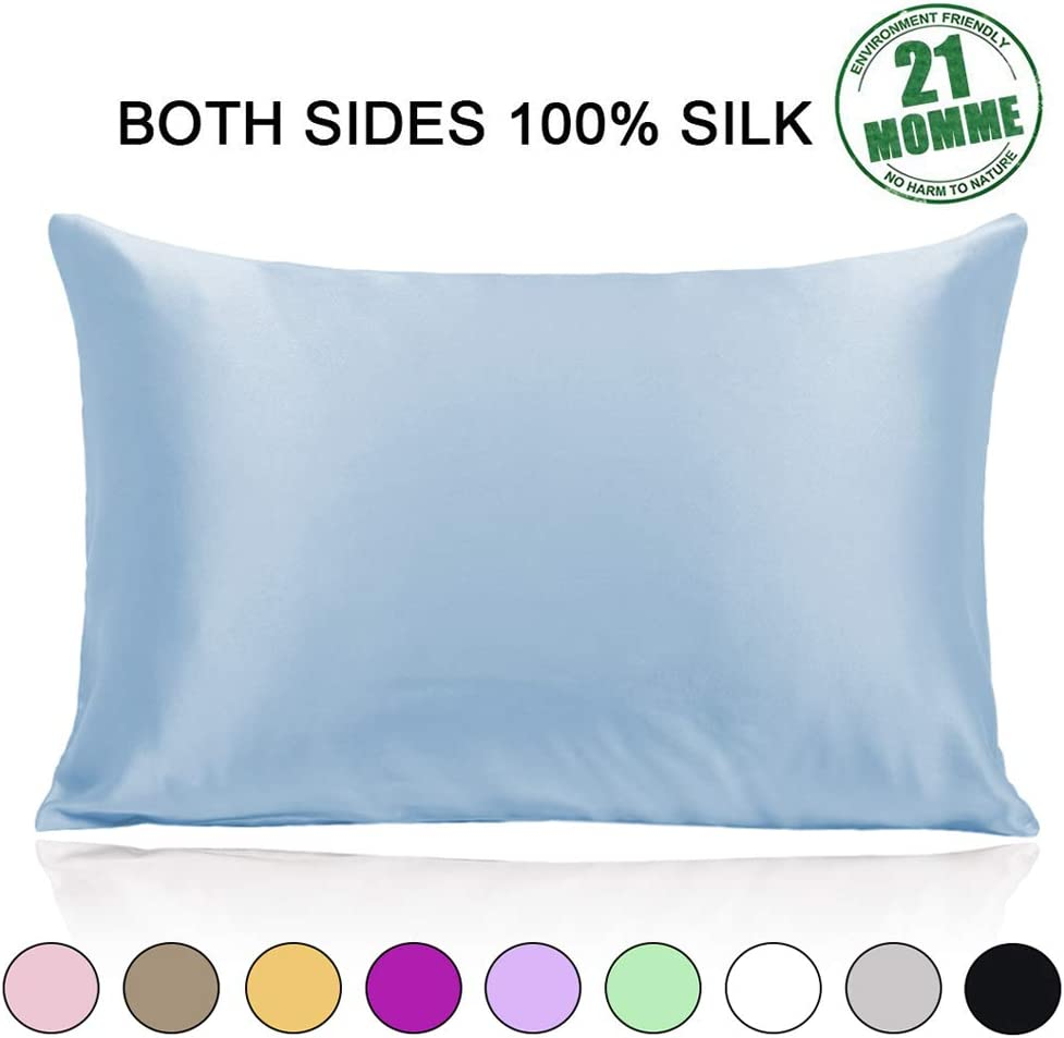 Ravmix 100% Both Sides Pure Natural Silk Pillowcase Standard Size for Hair and Skin w/Hidden Zipper 21 Momme 600TC Hypoallergenic Soft Breathable Silk Pillow Cover, 20×26inches, 1pcs, Light Blue
