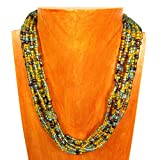 16'' Multi Strand Glass Beaded Green ''Peacock'' Color Elisa Style Handmade Necklace Bali Bay Trading Co