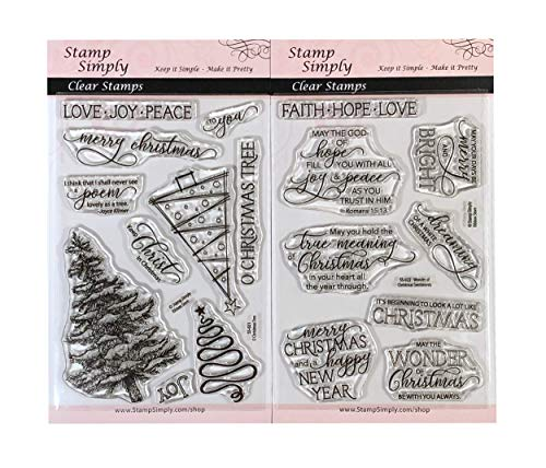Stamp Simply Clear Stamps O Xmas Tree and Wonder of Christmas Sentiments (2-Pack) 4x6 Inch Sheets - 18 Pieces (Eve Bible Verses Christmas)
