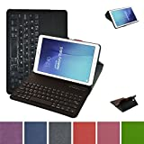 Galaxy Tab E 9.6 Bluetooth Keyboard Case,Mama Mouth Slim Stand PU Leather Case Cover with Romovable Bluetooth Keyboard for Samsung Galaxy Tab E 9.6 / E Nook 9.6 T560 T561 T567 Verizon 4G LTE,Black
