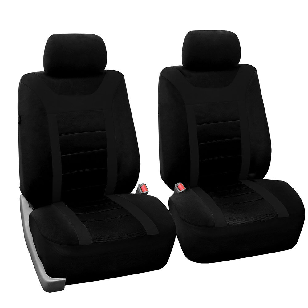 fh group fb070black102 black sport bucket front seat cover set of 2 airbag ready solid amazon. Black Bedroom Furniture Sets. Home Design Ideas