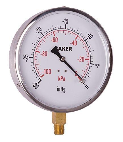 Baker Instruments AVND Series Stainless Steel Dual Scale Pressure Gauge, 30 inHg-0 (Vacuum) / kPa, 4.5