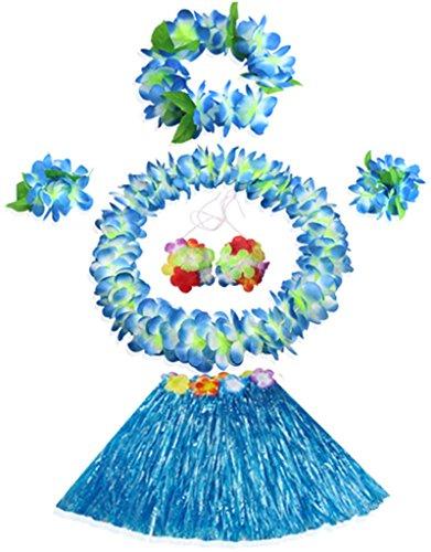Price comparison product image 30cm Hawaiian blue grass skirt performance costume set for girls