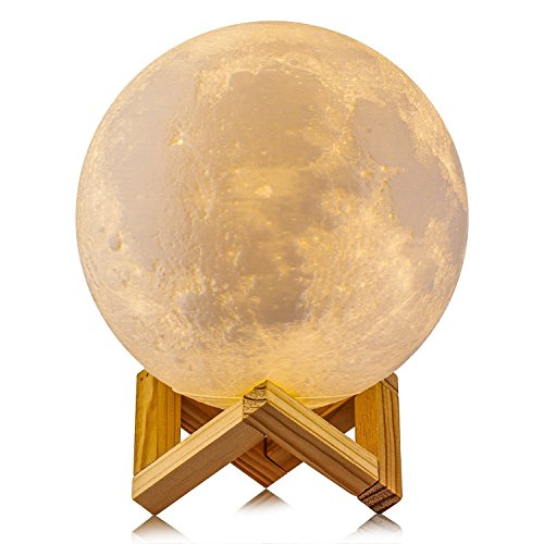 The Reset Moon LAMP Lighting Night Light LED 3D Printing, Warm and Cool White Dimmable Touch Control Brightness USB Charging, Rechargeable Home Decorative Lamp, Wooden Stand Creative Gift 5.9 inch (Print Cart Battery)