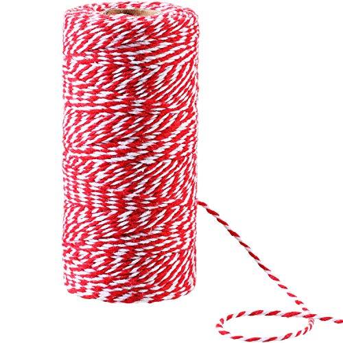 Candy Finish White (Pangda 100 Meters Red, White and Green Cotton String Christmas Candy Bakers Twine 2 mm Diameter for Gift Wrapping Christmas Decoration DIY (Red and White))