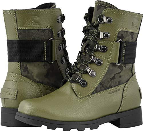(SOREL Emelie Conquest Boot - Girls' Hiker Green/Black, 5.0)