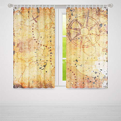 (Window Curtains Blackout,Island Map,for Bedroom Living Dining Room Kids Youth Room,Antique Treasure Map Grunge Rusty Style Parchment Print History Theme Boho Design2 Panel Set,86W X 70L Inches)