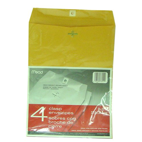 MeadWestvaco 76012 9'' X 12'' Heavyweight Kraft Clasp Envelopes 4 Count