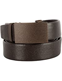 Men's Leather Ratchet Belt with Automatic Click, Micro Adjustable Buckle, Genuine Leather, Gift Box