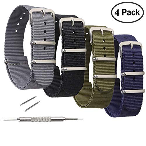 - STYLELOVER 4 Pack Nato Watch Bands, Ballistic Nylon Watch Straps - Choices of Colors & Widths 16mm 18mm 20mm 22mm or 24mm