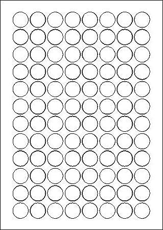 175 Etiketten selbstklebend rund 35 mm weiß auf Bogen A4 5 Bögen x 35 Etik.