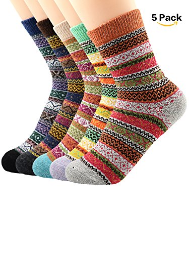 Zando Athletic Women Girls Knit Pattern Winter Cashmere Vintage Cabin Socks Crew Retro Thick Warm Wool Mid-Calf Socks 5 Pack - Assorted Stripe 6-11(US) Stripe Mid Calf Socks