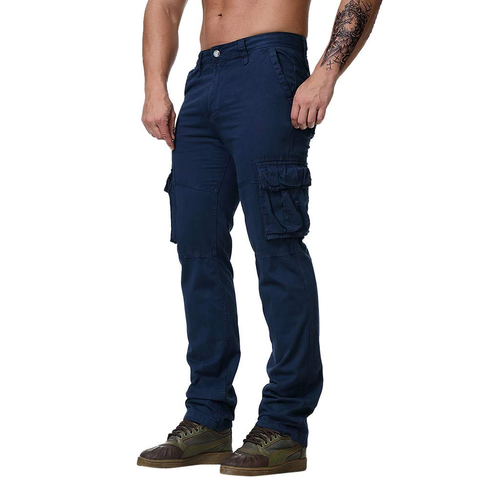 kemilove Men's Cotton Casual Military Cargo Pants, Casual Work Combat Work Pants Dark Blue